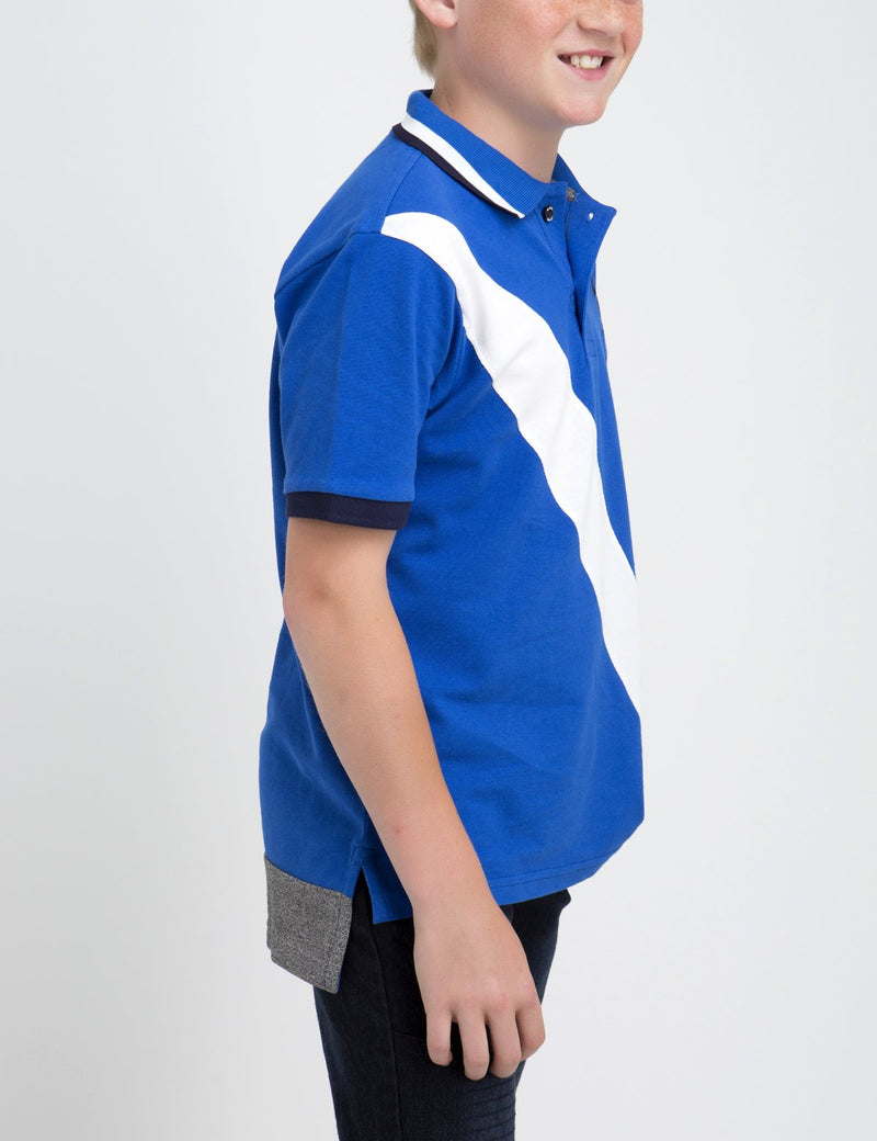 BLACK MALLET BOYS DIAGONAL POLO SHIRT