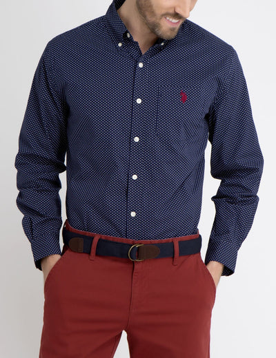 STRETCH FIT DOT SHIRT IN POPLIN - U.S. Polo Assn.