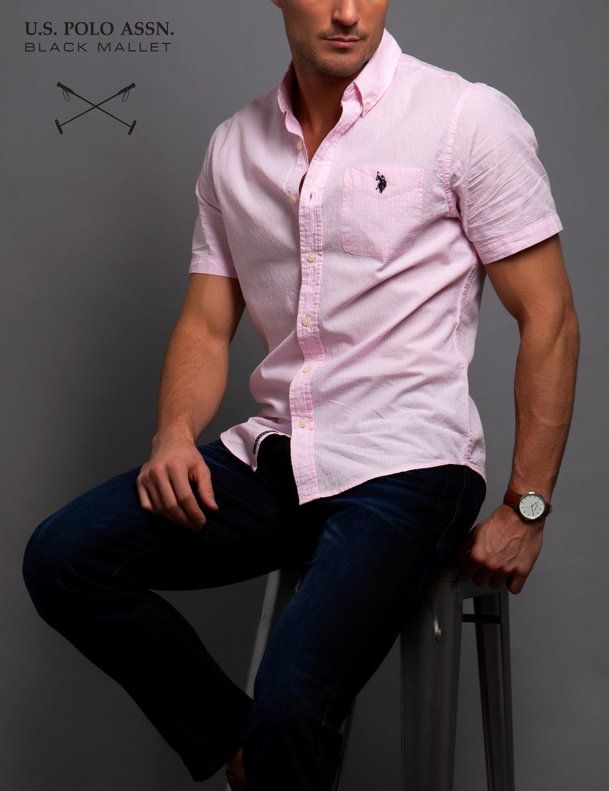 BLACK MALLET STRETCH SLIM STRIPED SHIRT