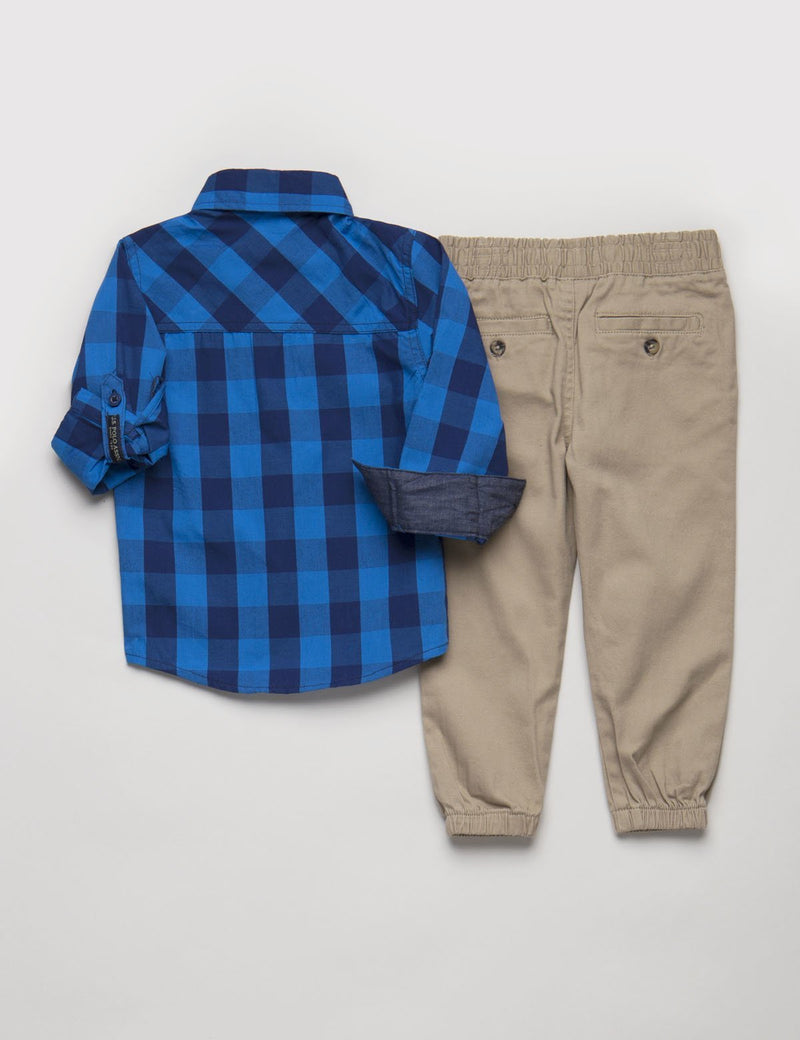 Toddler 2 Piece Set - Plaid Shirt & Joggers
