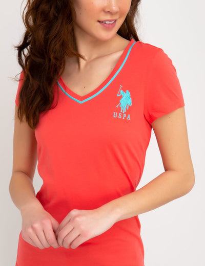 BIG LOGO NEON V-NECK TIPPED TEE