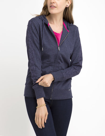 LACE SLEEVE ZIP UP HOODIE - U.S. Polo Assn.