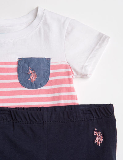 GIRLS 3 PIECE SET - DRESS, TEE & LEGGINGS - U.S. Polo Assn.