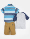 Boys 3 Piece Set - Woven Shirt, Tee & Shorts