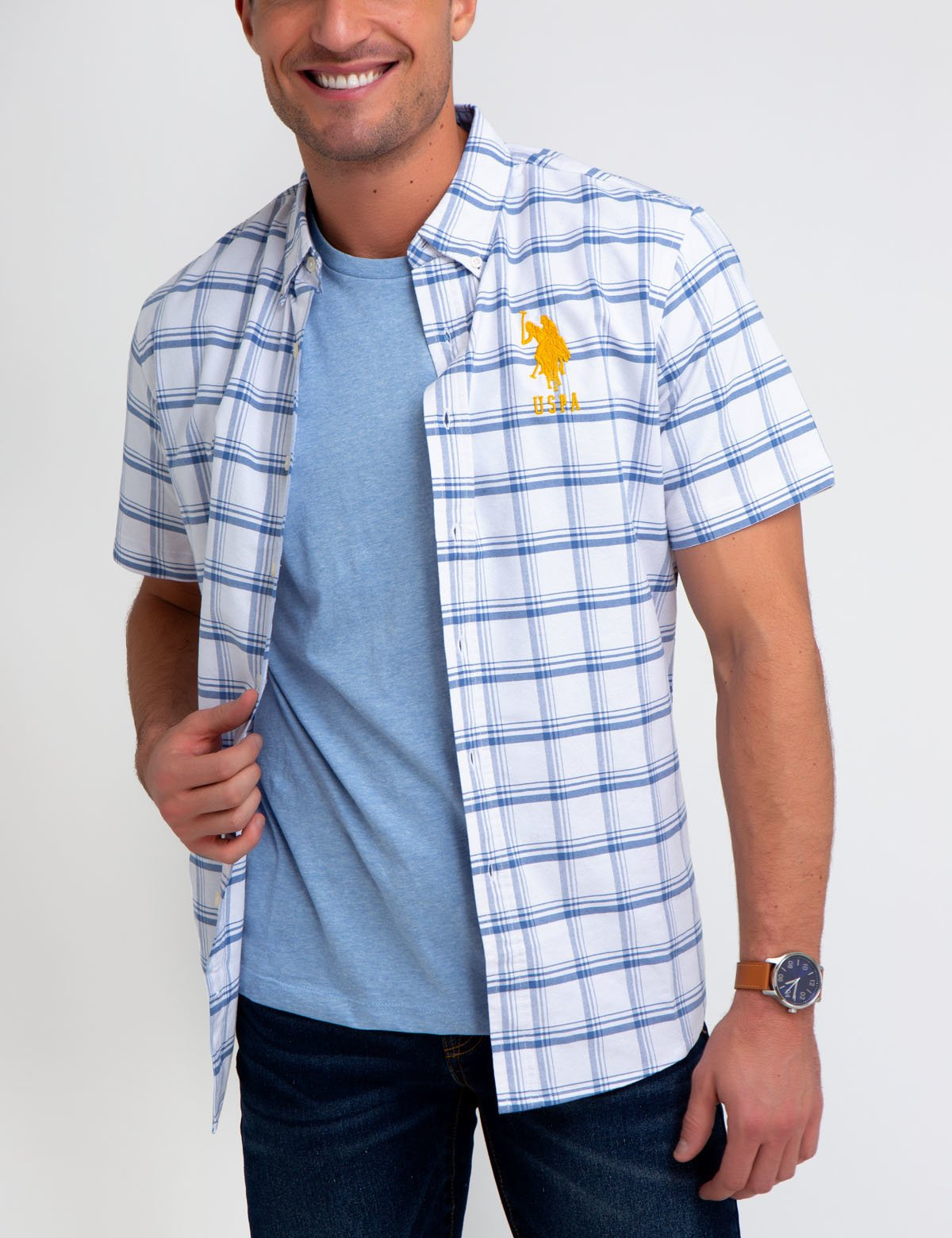 SHORT SLEEVE PLAID OXFORD SHIRT