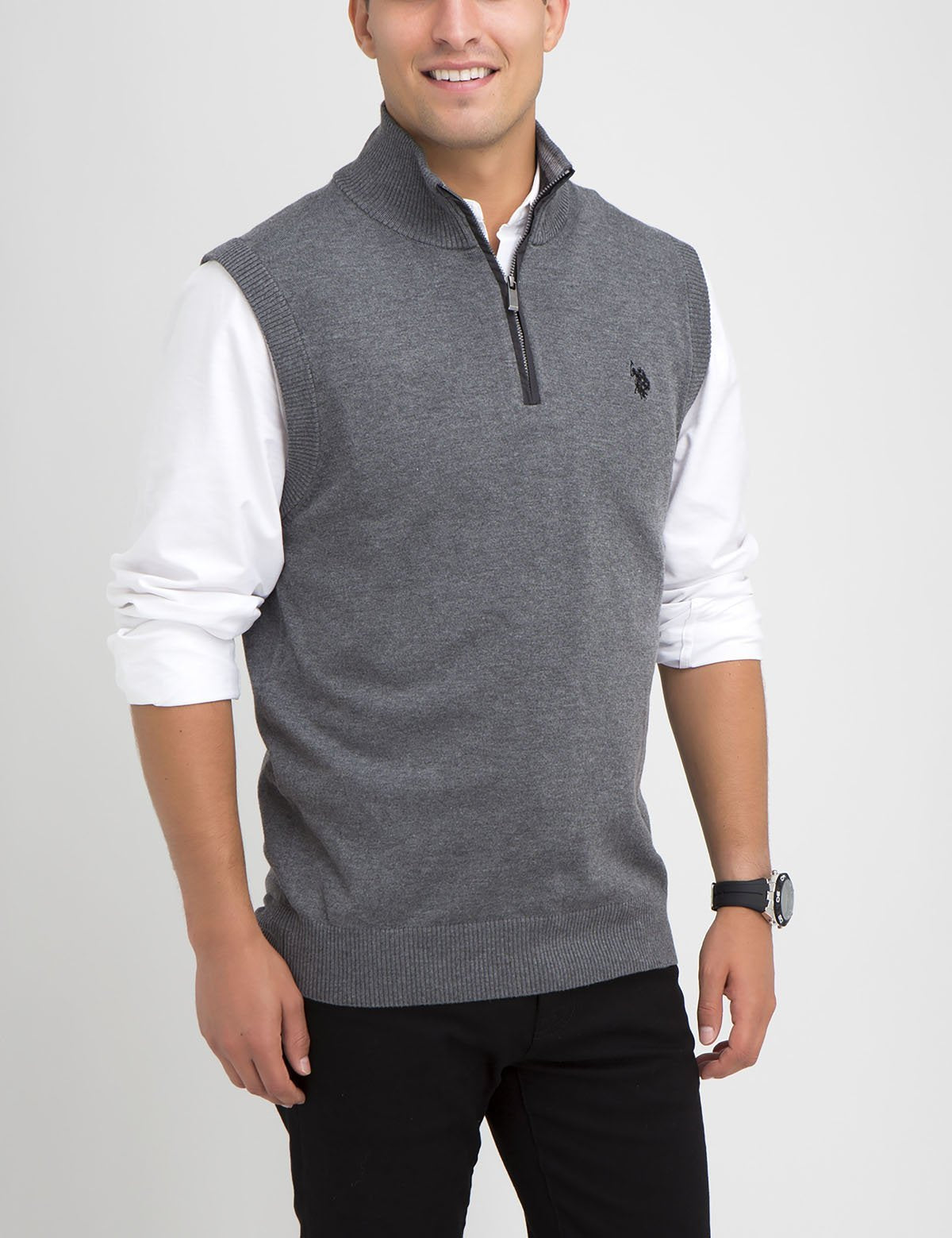 STRETCH 1/4 ZIP  SWEATER VEST