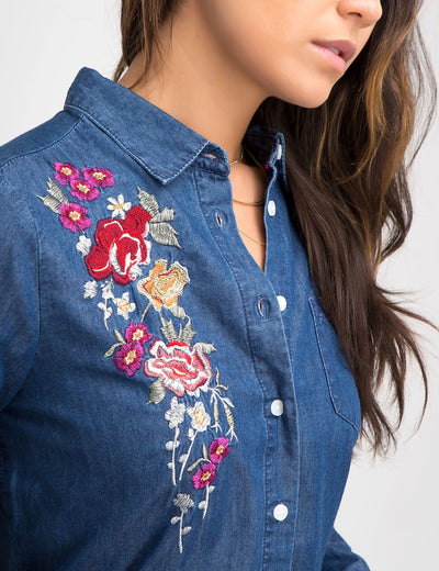 FLORAL EMBROIDERED CHAMBRAY SHIRT