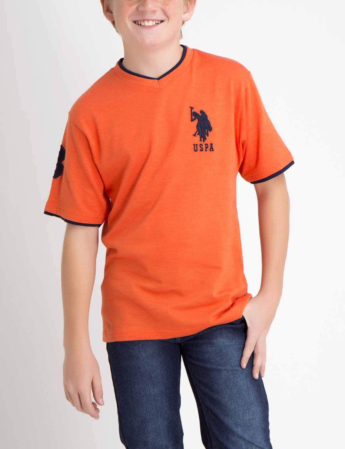 Boys V-Neck Big Logo T-Shirt