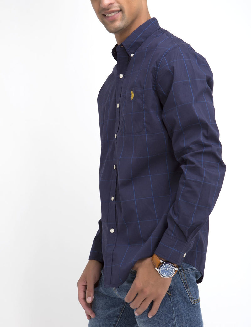 STRETCH FIT LARGE PLAID SHIRT IN POPLIN