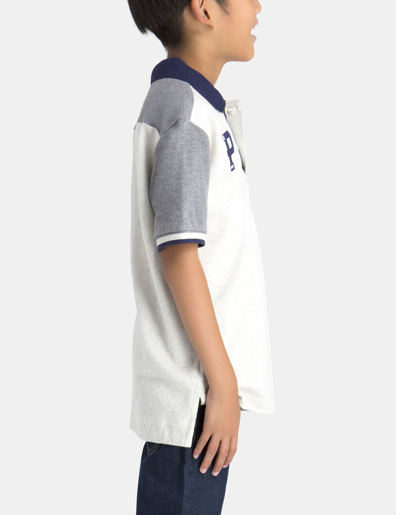 BOYS PATCH PIQUE POLO SHIRT