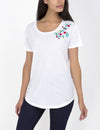 EMBROIDERED FLORAL CLUSTER T-SHIRT