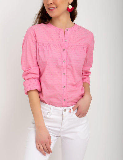 MANDARIN COLLAR DOBBY TOP - U.S. Polo Assn.