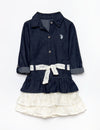 GIRLS LACE & DENIM DRESS - U.S. Polo Assn.