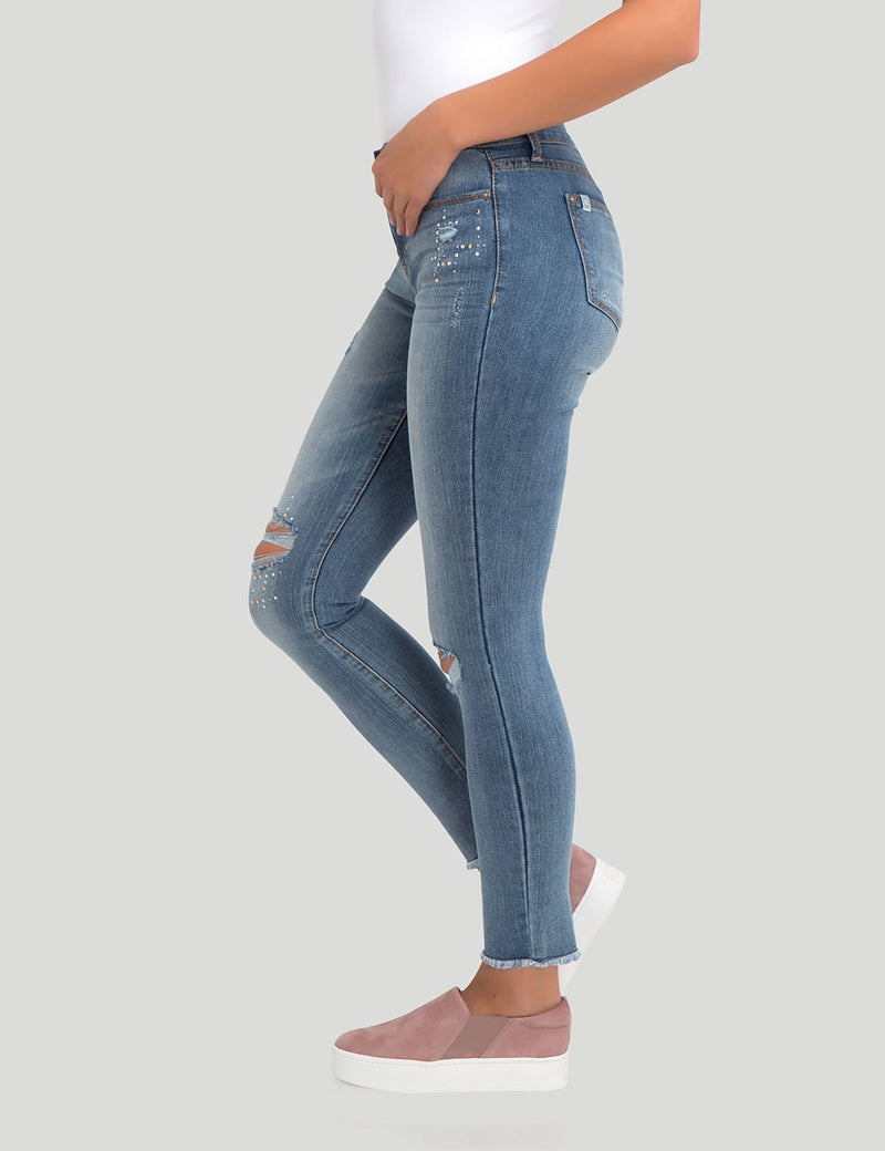 STRETCH SUPER SKINNY DESTRUCTION BLING JEAN