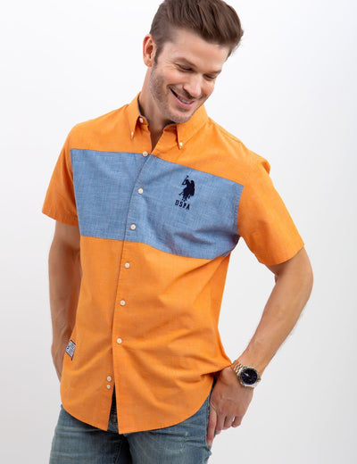 STRETCH SLIM CANVAS SHIRT