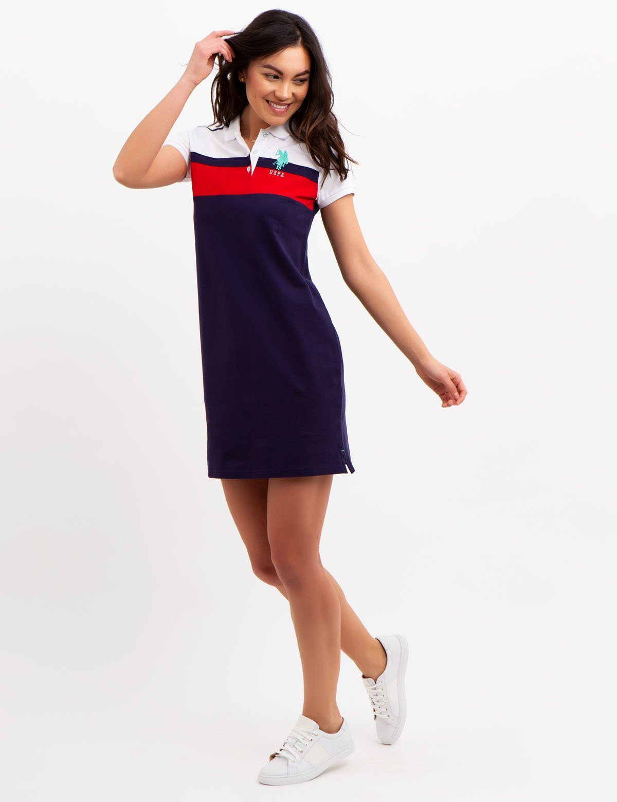 COLORBLOCK POLO DRESS