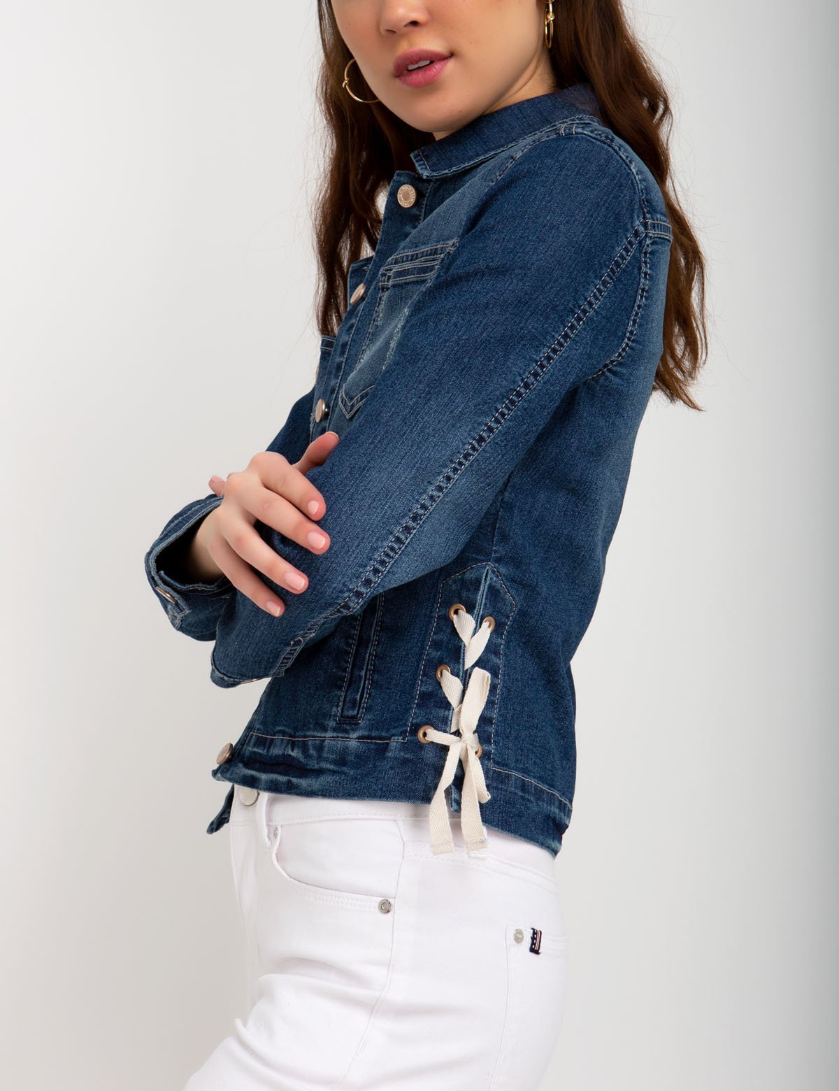 SIDE TIE DENIM JACKET