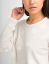 FLORAL APPLIQUE LONG SLEEVE SWEATSHIRT