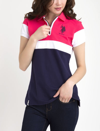 COLORBLOCK ZIP POLO SHIRT - U.S. Polo Assn.