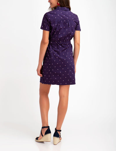 BELTED DOT PLEATED DRESS