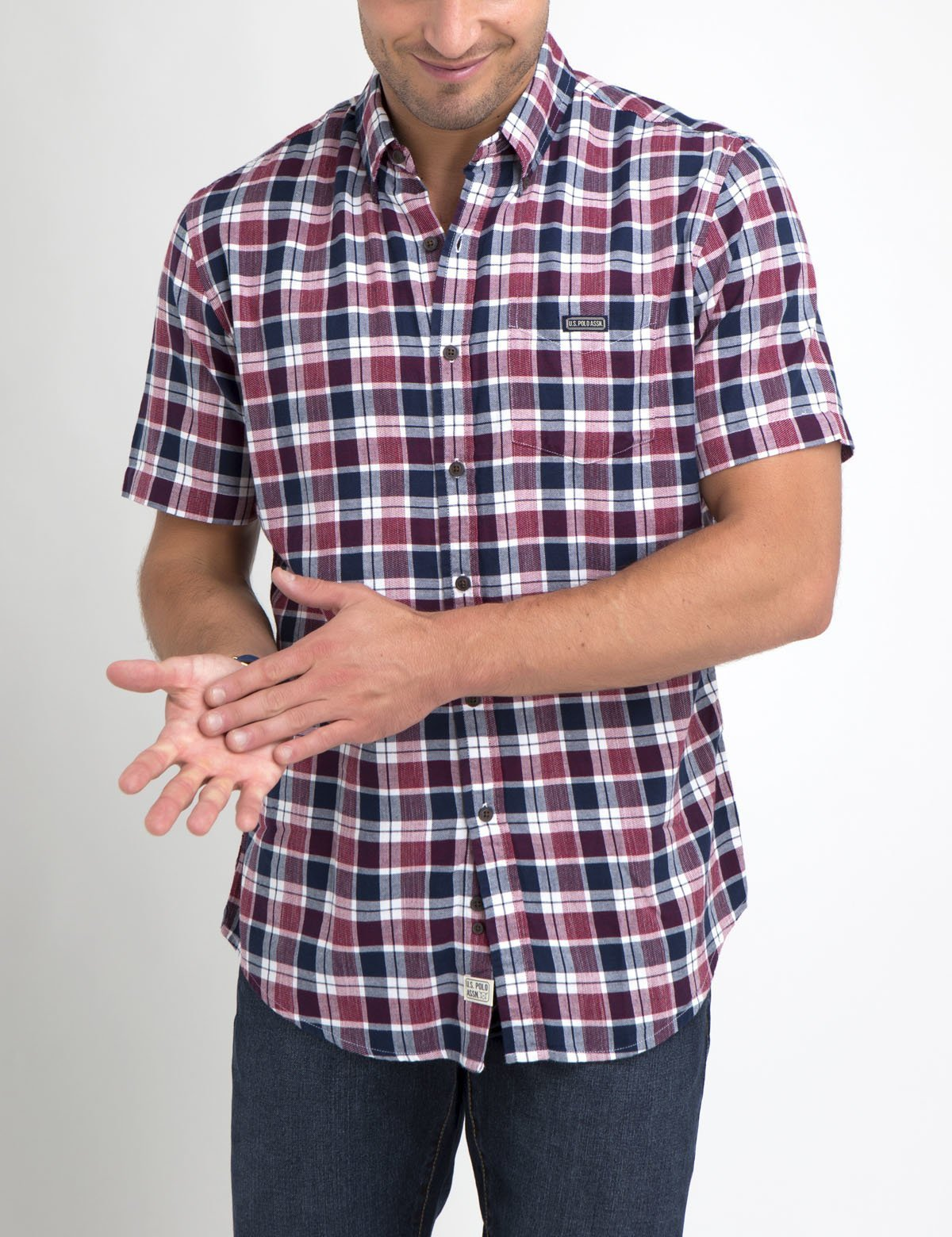 CLASSIC FIT MEDIUM PLAID SHIRT IN POPLIN