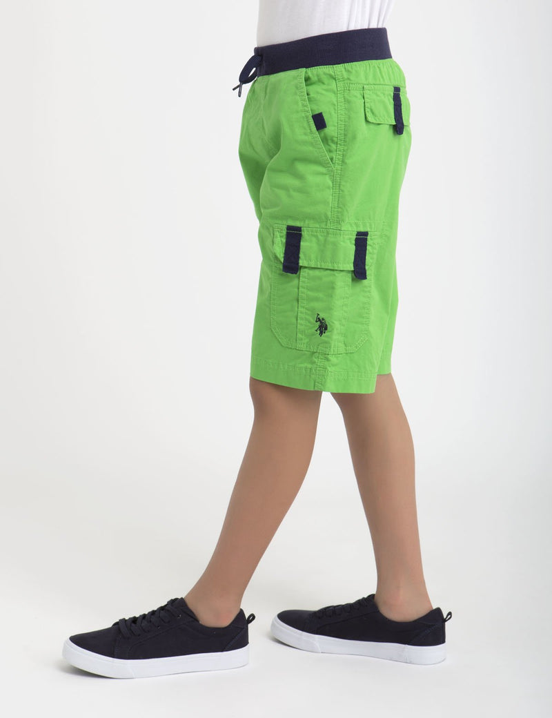 RIBBED WAISTBAND DRAWSTRING CARGO SHORT