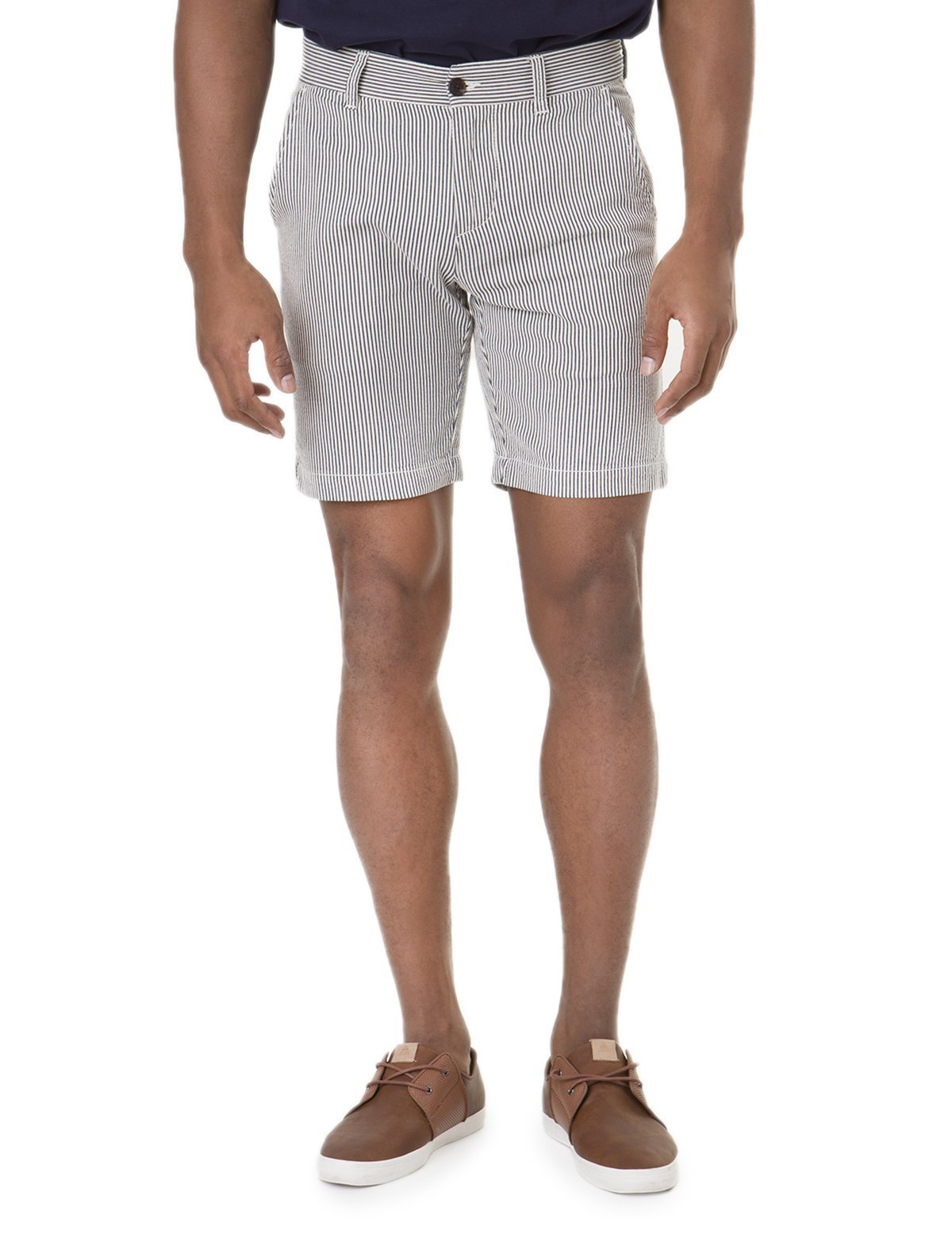 Black Mallet Seersucker STRIPE Slim Fit Shorts