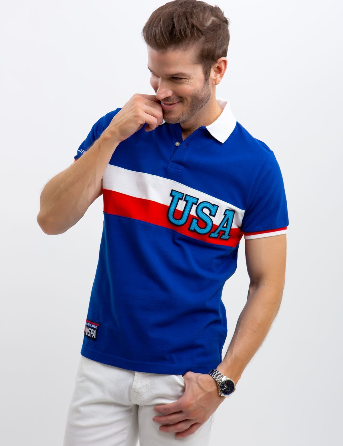 USA CHEST STRIPED POLO SHIRT