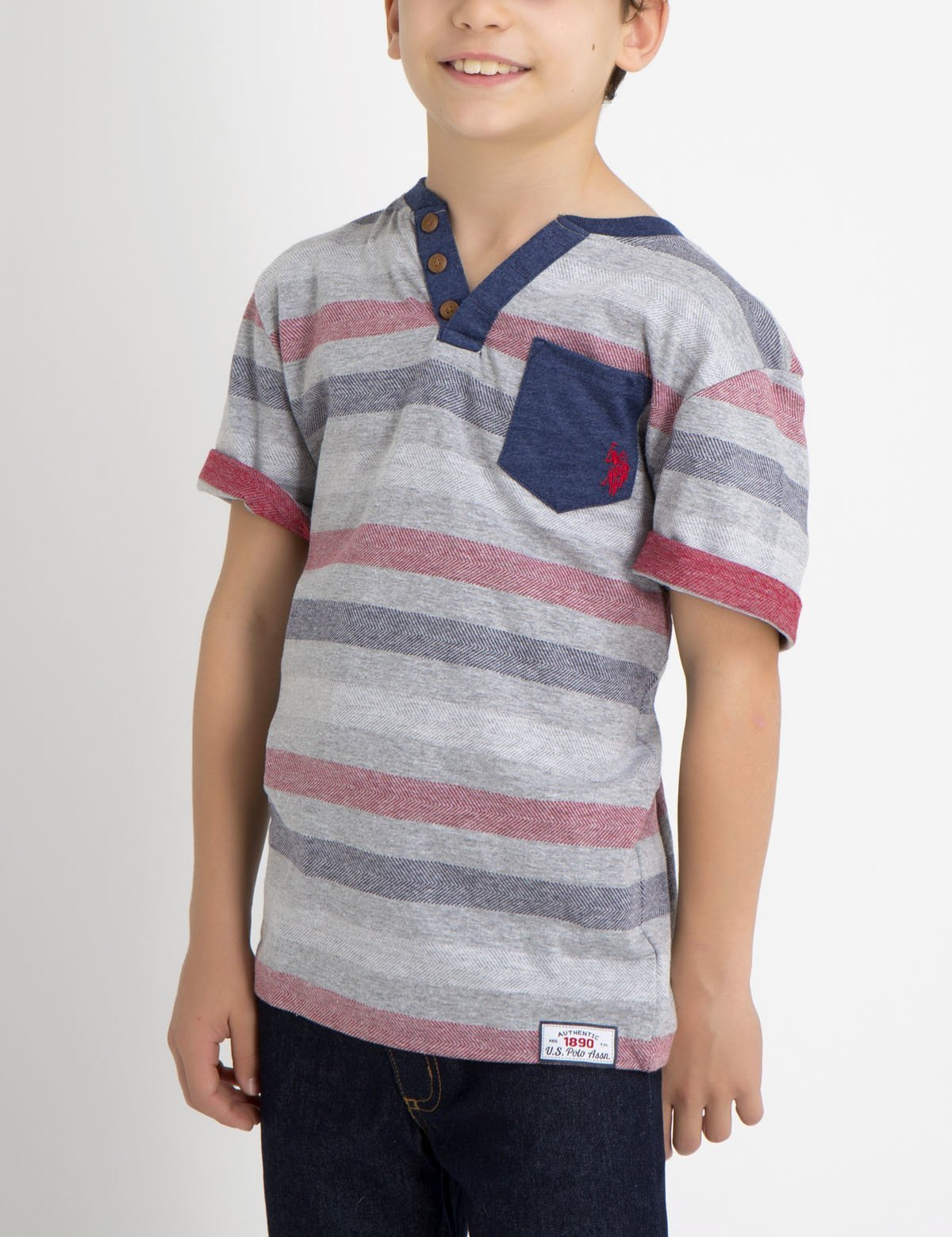 BOYS STRIPED HENLEY
