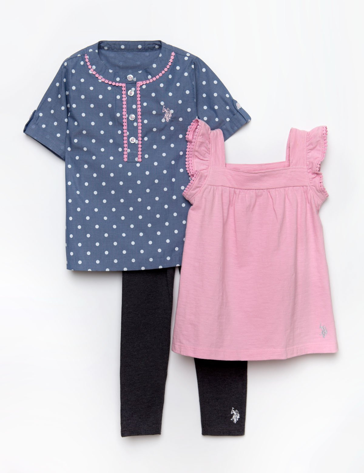 GIRLS 3 PIECE SET - SHIRT, TANK & LEGGINGS