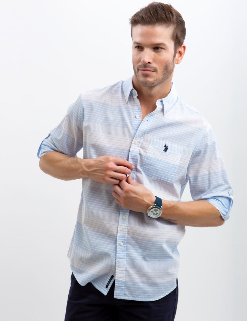 HORIZONTAL STRIPED POPLIN SHIRT