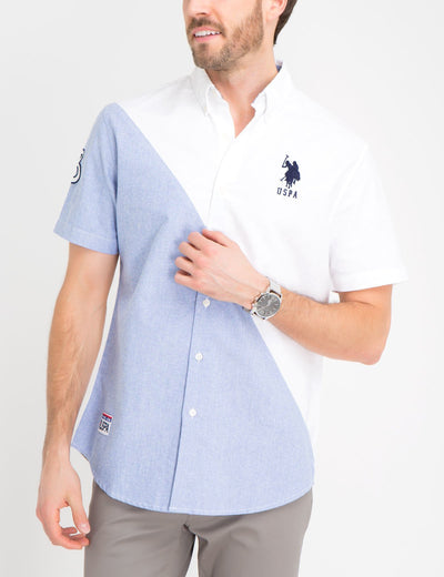 DIAGONAL COLORBLOCK OXFORD SHIRT