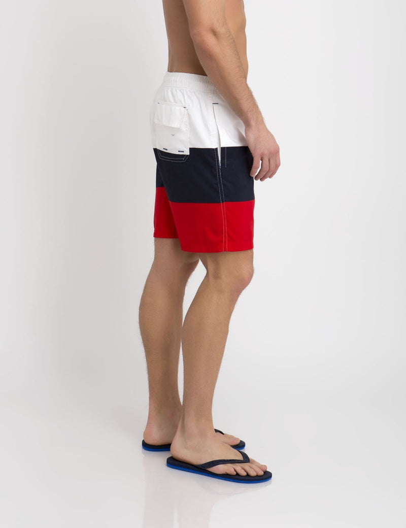 TRI-COLORBLOCK SWIM TRUNKS
