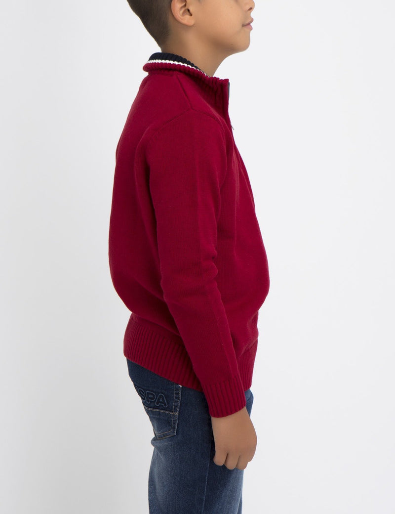 BOYS SOLID COLOR SWEATER WITH MULTICOLOR LOGO
