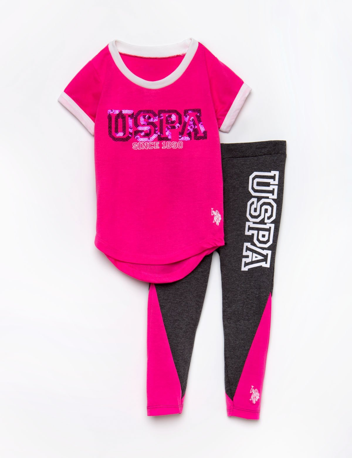 TODDLER 2 PIECE SET: SPARKLE TEE & LEGGINGS - U.S. Polo Assn.