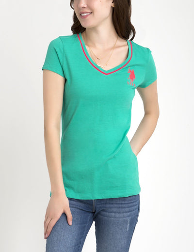 BIG LOGO NEON V-NECK TIPPED TEE - U.S. Polo Assn.