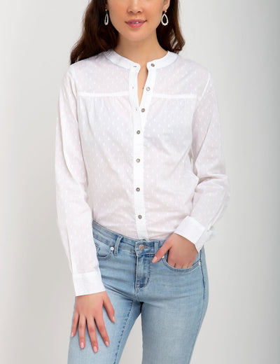 MANDARIN COLLAR DOBBY TOP