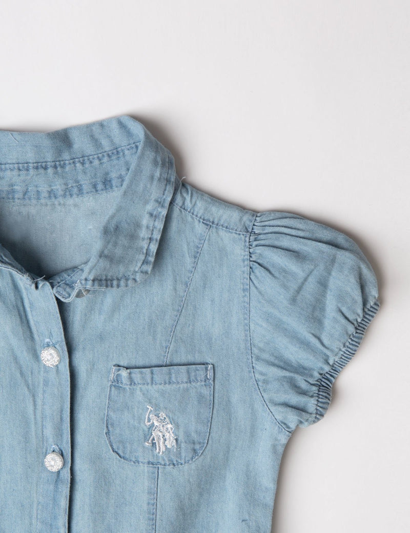 TODDLER SHORT SLEEVE DENIM DRESS