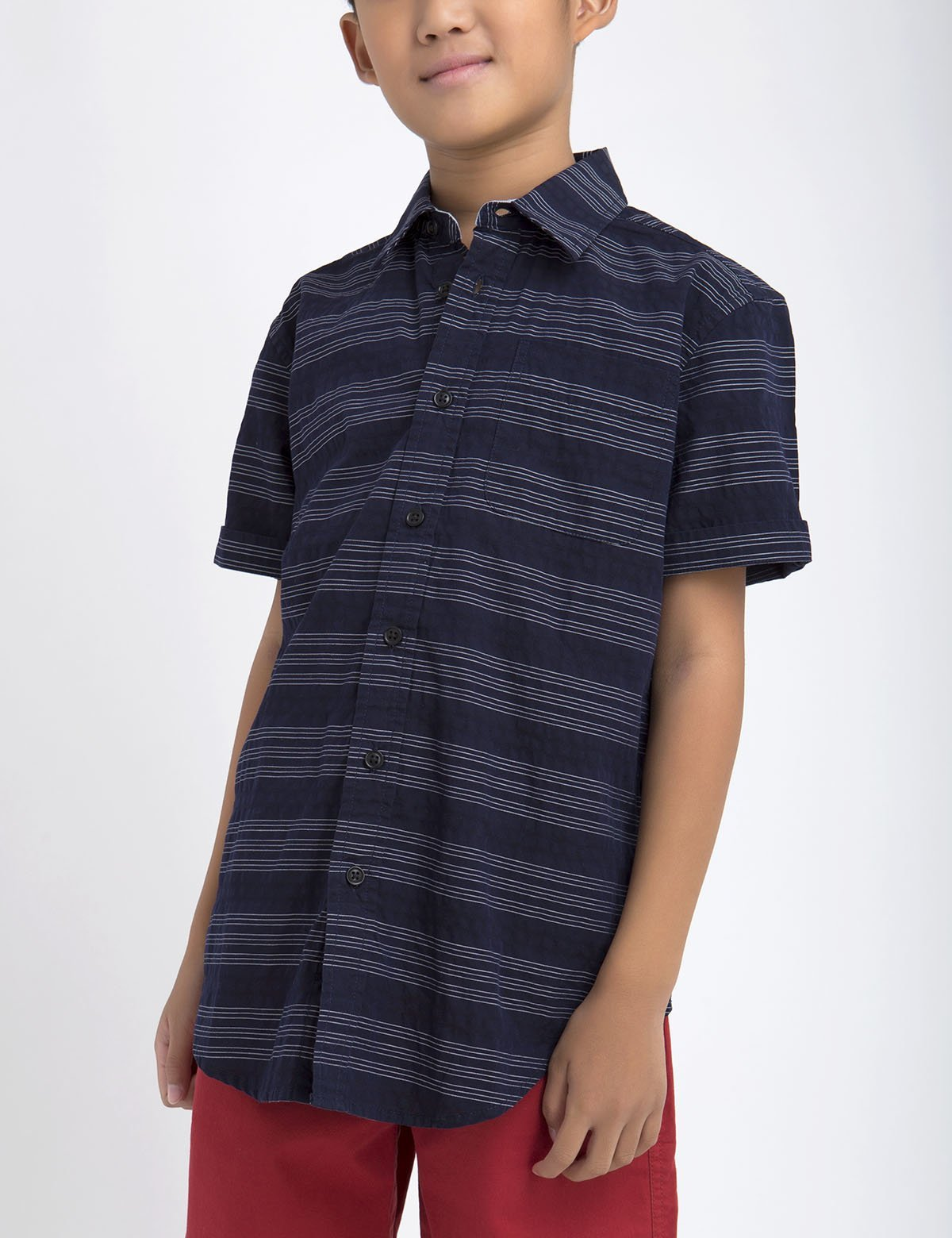 BOYS BLACK MALLET HORIZONTAL DOBBY SHORT SLEEVE SHIRT