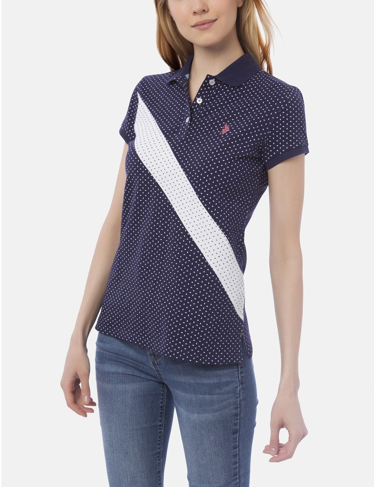 DOT PRINT DIAGONAL STRIPE POLO SHIRT - U.S. Polo Assn.