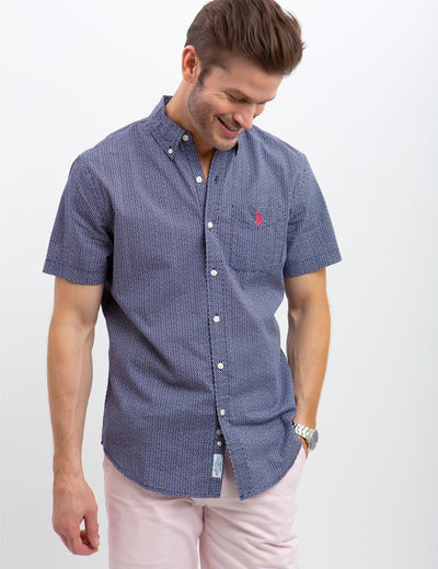 CLASSIC FIT PRINT ON SLUB POPLIN SHIRT