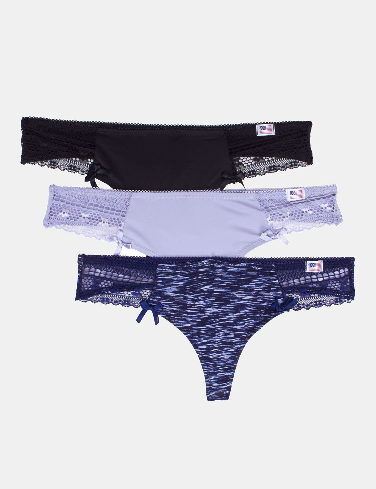 3 Pack Micro Lace Trim Thong - U.S. Polo Assn.