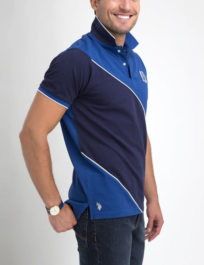 DIAGONAL STRIPED POLO SHIRT