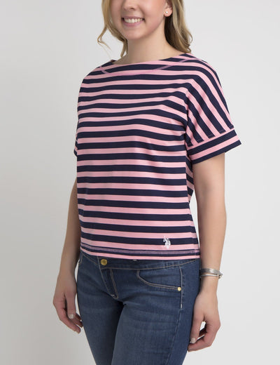 STRIPED LACEUP T-SHIRT