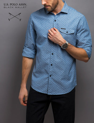 SLIM FIT LINE PRINT SHIRT