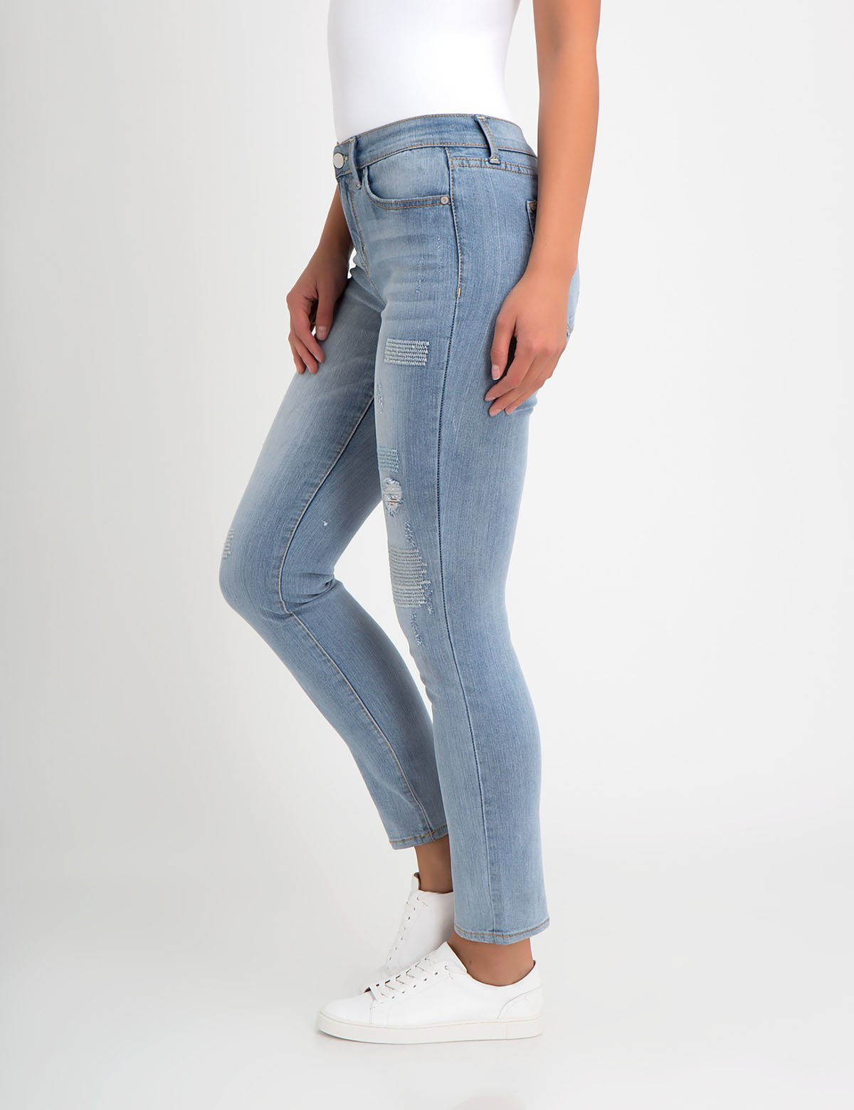 STRETCH SKINNY FIT EMBROIDERY DESTRUCTIVE JEAN