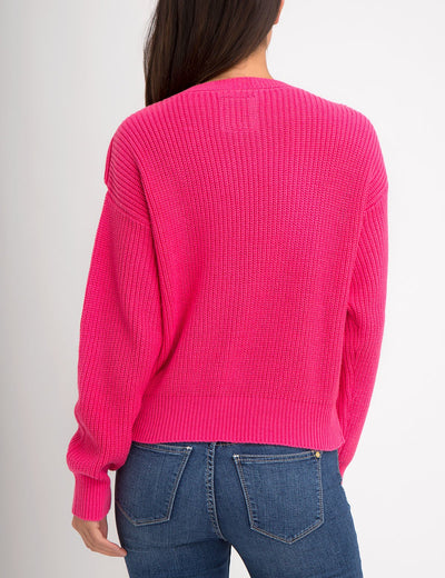 RUFFLE V-NECK SWEATER