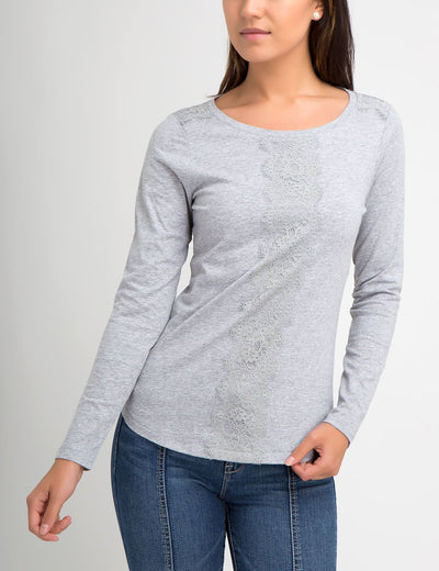 LONG SLEEVE CENTER LACE  T-SHIRT