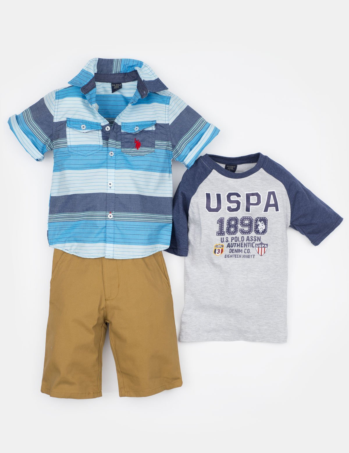TODDLER 3 PIECE SET - SHIRT, TEE & SHORTS