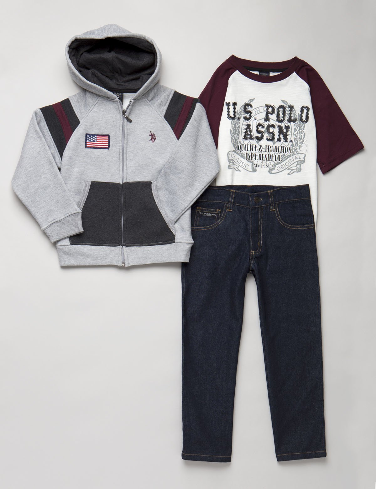 BOYS 3 PIECE SET - FLEECE, TEE & JEANS